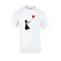 Banksy Gilr White Balloon T Shirt in White