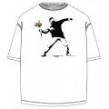 Banksy Flower Bomb Thrower T Shirt in White